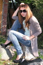 green my moms ruffled shirt - brown Bershka cardigan - blue pull&bear jeans - bl