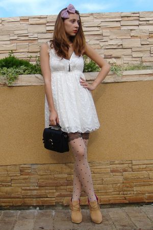 beige BBup shoes - white Zara dress - black vintage purse