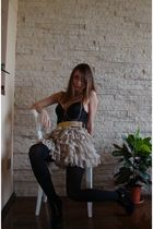beige costom made skirt - black random brand top - gold random brand belt - blac