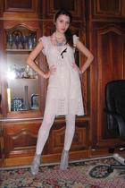 beige cheep dress - silver Nursace boots - blue MeliMelo accessories - white