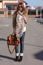 brown H&M bag - black BBup boots - blue random leggings - bronze Bershka blazer
