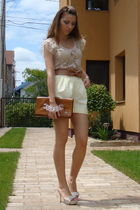 beige Mango blouse - yellow vintage shorts - brown custom made belt - brown IsLo