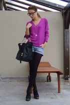 purple mark&spencer sweater - blue random brand shorts - black random bag - blac