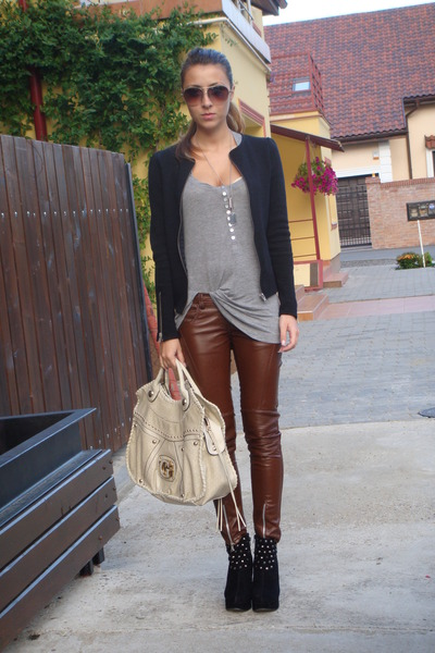 black Zara jacket - black random brand boots - gray Bershka top - beige Guess