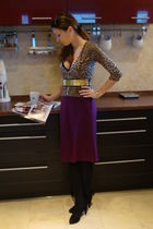 brown Mango cardigan - black jolidon top - purple vintage skirt - gold random be