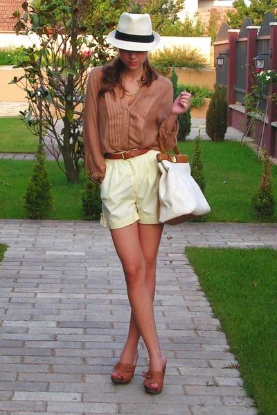 yellow vintage shorts - brown Bershka shoes - beige NewYorker hat