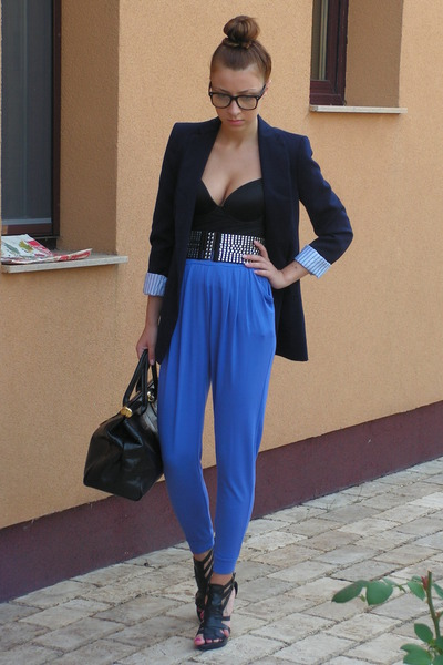 blue Zara blazer - black Zara shoes - black Italian bag accessories