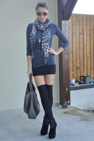 black custom made shirt - gray Bershka top - gray New Yorker scarf - gray Zara b