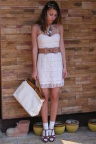 pink NewYorker dress - beige custom made belt - beige Random Bag accessories - b