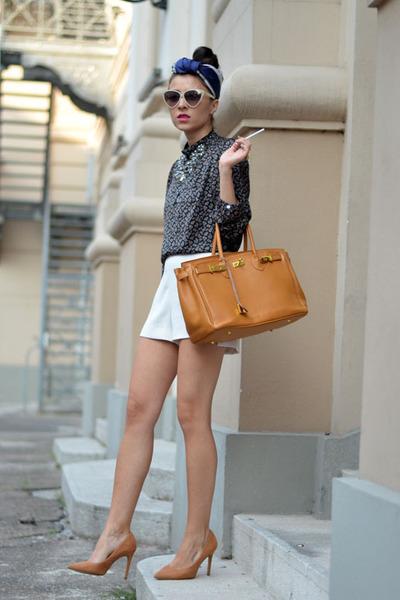 navy Zara shirt - white Mango shorts