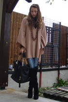 beige custom made coat - black thrifted sweater - blue Bershka leggings - black