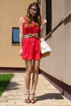 red Zara dress - beige custom made belt - beige random brand socks - brown custo