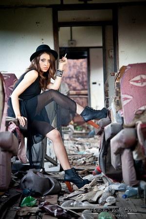 black Jeffrey Campbell boots - black OASAP dress - black H&M hat - gray Zara bag