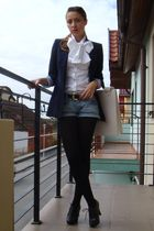 black Zara blazer - black random brand shoes - white custom made shirt