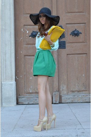 black H&M hat - Sheinside shirt - yellow Local Boutique bag