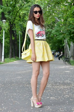 yellow Zara skirt - light yellow c&a purse - black H&M sunglasses