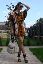 orange from syria dress - gold random brand belt - black jazz shoes - beige Muse