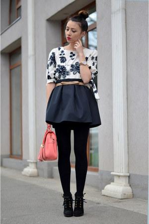 ivory BangGood blouse - salmon BangGood bag - black atelier Funditza Roz skirt