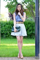 light blue nowIStyle skirt - heather gray H&M shirt - green lanvin bag