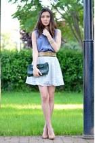 light blue nowIStyle skirt - heather gray H&M shirt - green lanvin bag