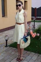 yellow vintage dress - brown thrifted belt - brown custom made shoes - beige DIY