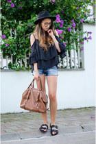 brown Michael Kors bag - brown OASAP glasses - black OASAP top - black H&M flats
