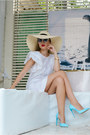 White-front-row-shop-dress-cream-h-m-hat-white-john-richmond-sunglasses