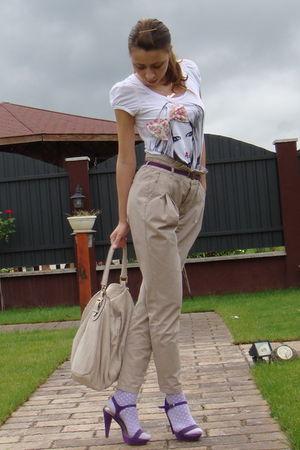 white BERSKA t-shirt - beige Zara pants - beige Musette accessories - purple ran