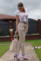 white BERSKA t-shirt - beige Zara pants - beige Musette accessories - purple ran