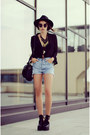 Black-la-moda-shoes-black-h-m-hat-blue-levis-shorts