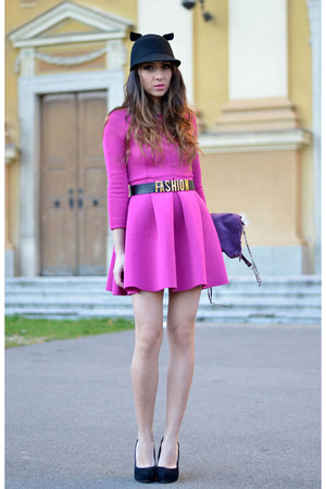 pink Choies dress - black OASAP hat - black asos pumps