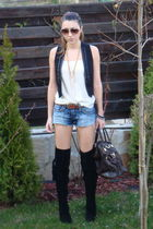 beige vintage silk top - blue random shorts - black Zara vest - black custom mad