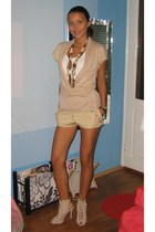 beige Motivi cardigan - white Mango top - beige custom made pants - brown MeliMe