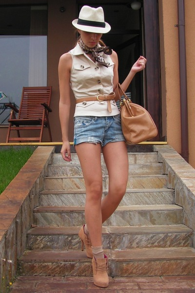 beige custom made vest - beige BBup shoes - brown random scarf - blue DIY shorts