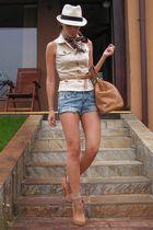 beige custom made vest - beige BBup shoes - brown random scarf - blue DIY shorts