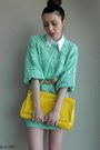 Aquamarine-thrifted-sweater-yellow-local-boutique-bag-white-diy-accessories