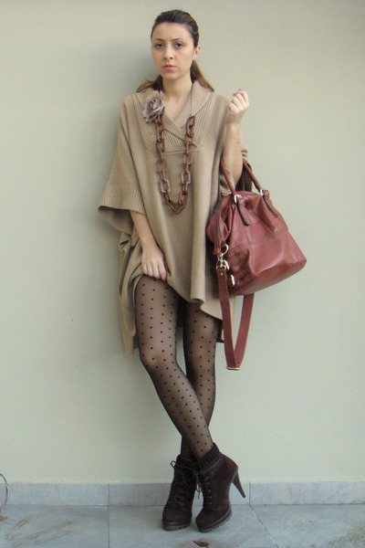 light brown poncho H&M coat - dark brown Zara boots - black H&M tights
