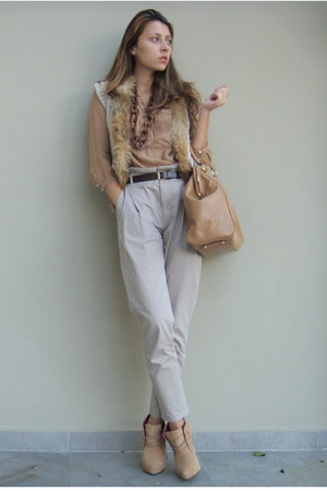 nude Zara shirt - beige BBup shoes - neutral random brand vest