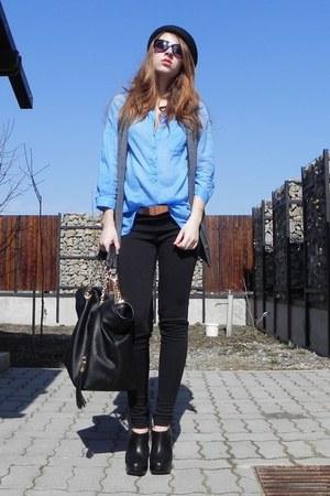 black Zara leggings - sky blue Zara shirt - black random bag - gray Stefanel ves