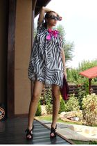 white custom made dress - black custom made shoes - pink custom made purse - bla
