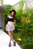 black fedora H&M hat - light pink floral skirt thrifted vintage skirt