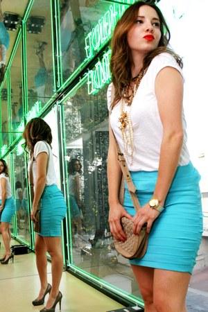 turquoise blue cotton strech true love skirt