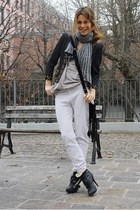dark gray blazer - heather gray scarf - black heels - pants - top