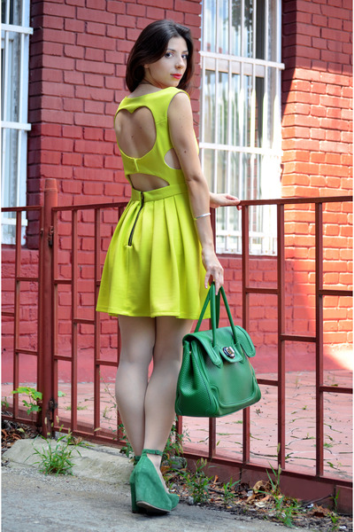 chartreuse nissa bag - yellow Lashez dress