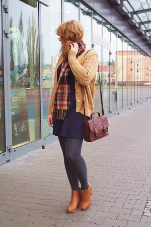 burnt orange Medicine scarf - burnt orange deezee boots - navy h&m divided dress