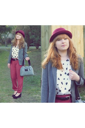 charcoal gray blazer - heather gray cat bag - pink pants