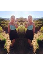 black skater Target skirt - aquamarine bustier luluscom top - black Janice heels