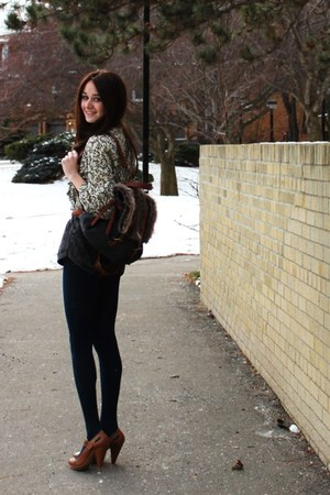vintage shirt - American Apparel shorts - American Apparel tights - Zara heels -