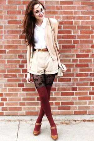 lace Betsey Johnson tights - brown buckle Zara shoes