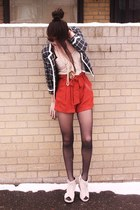 white lace Urban Outfitters shirt - orange paperbag Urban Outfitters shorts
